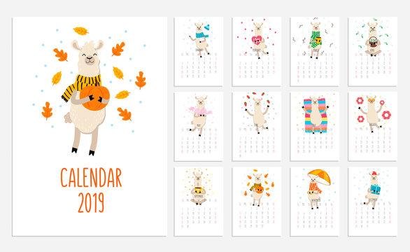 Llama calendar for 2019 with cute alpacas. Vector planner illustration for New Year.