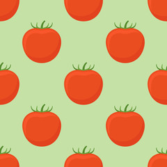Seamless pattern with tomato on green background. Vector texture.