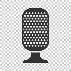 Microphone icon in flat style. Mic broadcast vector illustration on isolated background. Microphone mike speech business concept.