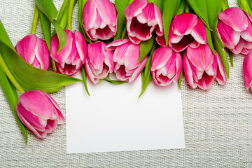 Pink tulip bouquet and sheet of paper on light background, copy space