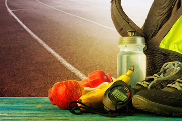 A set of items for running training at the stadium