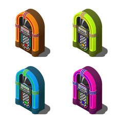 Set of isometric retro jukebox flat vector icons in different colors isolated on white background.