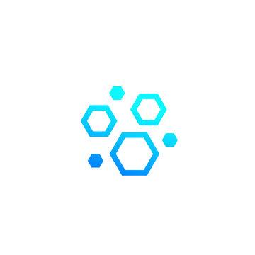 nanoparticles, hexagon nano molecules vector icon