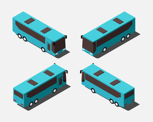 Isometric coach buses in four different positions vector illustration.