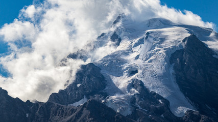 Printed roller blinds Panorama Photos View on Mount Ortler with glacier and clouds, Passo del Stelvio, Italy.