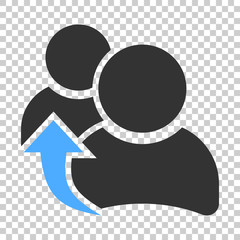 People referral icon in flat style. Business communication vector illustration on isolated background. Reference teamwork business concept.