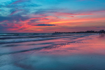 Wall Mural - Pink Sunset at Siesta Key beach, Gulf Mexico, Florida. USA