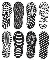Shoe prints vector set