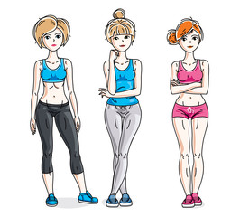 Happy cute young women standing wearing stylish sport clothes. Vector set of beautiful people illustrations. Slim female with perfect body. Lifestyle theme fem characters.