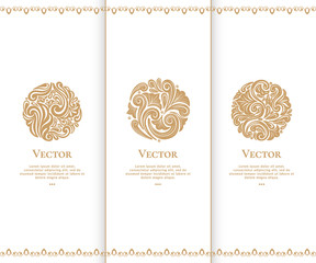 Set of golden emblem. Elegant, classic elements. Can be used for jewelry, beauty and fashion industry. Great for logo, monogram, invitation, flyer, menu, brochure, background, or any desired idea.