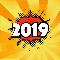 2019 New Year on the background of a yellow and orange dots. Pop art design element.