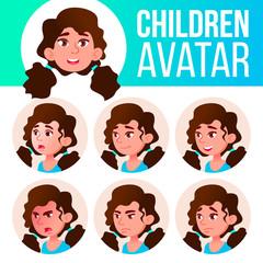 Girl Avatar Set Kid Vector. Primary School. Face Emotions. Facial, People. Cheer, Pretty. Card, Advert. Cartoon Head Illustration