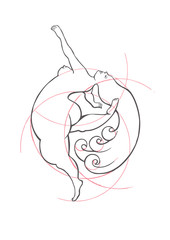 A conceptual image of a naked plump girl who takes her body as it is. Classic ink illustration in vector.