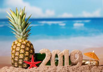 Christmas inscription 2019, juicy fresh pineapple on background of ocean