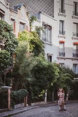 Retro style couple, Montmartre, Paris, France