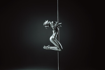 Obraz Young woman pole dancing - fototapety do salonu