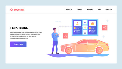 Vector web site gradient design template. Car sharing and taxi app. Landing page concepts for website and mobile development. Modern flat illustration.