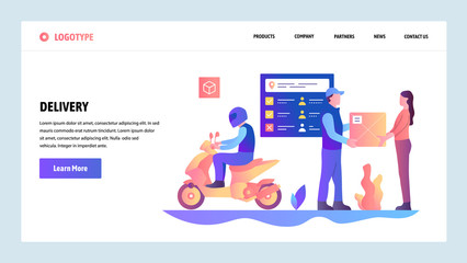 Vector web site gradient design template. Motorbike fast city delivery service. Post mail service. Landing page concepts for website and mobile development. Modern flat illustration.