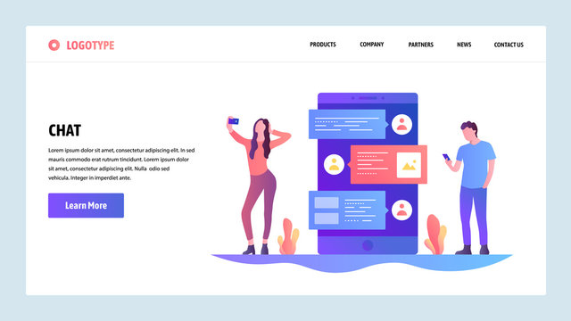 Vector web site design template. Online internet chat and mobile phone messenger app. People talk on a phone by sms. Landing page concepts for website and mobile development. Modern flat illustration.