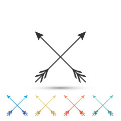 Crossed arrows icon isolated on white background. Set elements in colored icons. Flat design. Vector Illustration