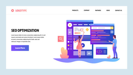 Vector web site design template. Search Engines optimization SEO and digital marketing. Landing page concepts for website and mobile development. Modern flat illustration. Wall mural