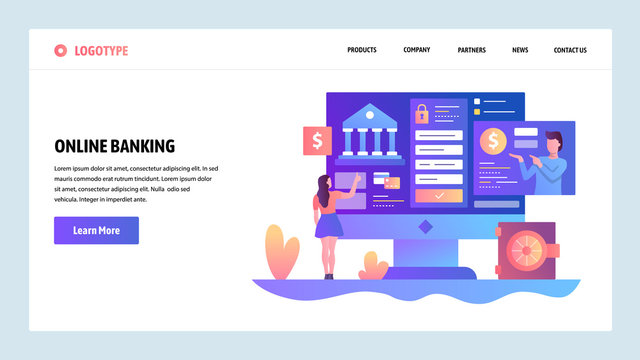 Vector web site design template. Online banking and digital money service. Landing page concepts for website and mobile development. Modern flat illustration.