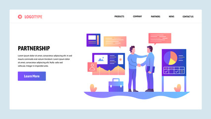 Vector web site design template. Business partnership. Businessmen cut a deal with finance charts on background. Landing page concepts for website and mobile development. Modern flat illustration.