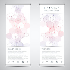 Roll up banner stands with abstract geometric background from hexagons pattern. Hi-tech digital background. Vector illustration for technological or scientific modern design.