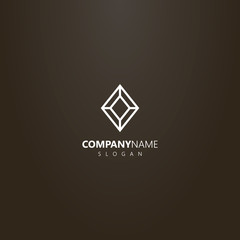white logo on a black background. vector geometric line art logo of diamond shape gemstone