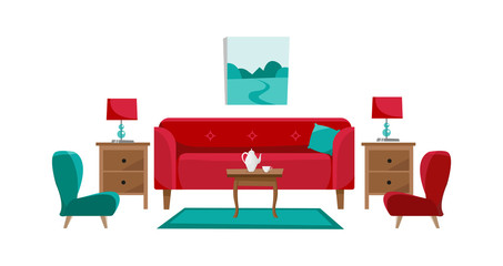 Red sofa with cofee table, nightstands, painting, table lamps, vase, carpet, soft chair and slippers in living room. Porcelain set of pot and two cups on table. Flat cartoon vector in white background