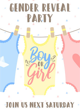 Invitation card template with pink, yellow and blue babygro and an inscription Boy or girl. Vector illustration for Gender reveal party. Ð¡oncept of holiday, pregnancy, motherhood
