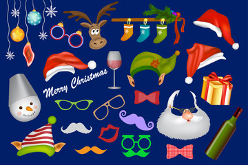 Christmas photo booth props set with Santa, hat, glasses, mustache, beard, elf, hat, gift,  snowman. Party decoration and Christmas accessories