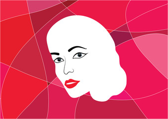 Vectorial illustration of woman face with red lips, with red shaded abstract background
