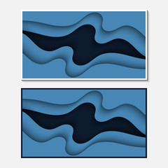 Banner with wavy lines. Abstract wavy paper cut background.