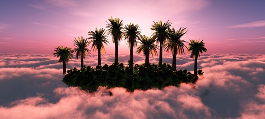 Island in paradise. Tropical island with palm trees in the clouds at sunset