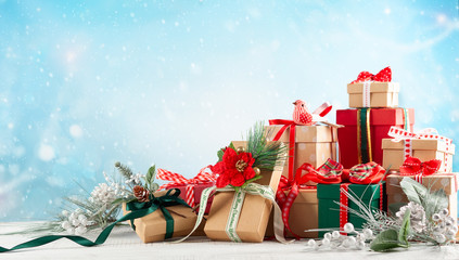 Holiday Christmas concept with gift boxes.