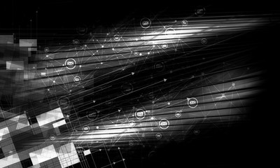 3D rendering of abstract digital technology background. Black and white version