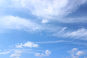 White puffy clouds on blue summer sky