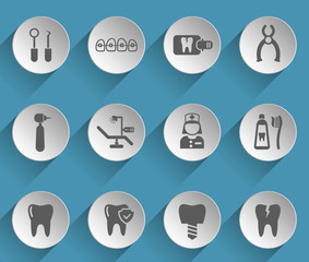 dental web icons on light paper circles