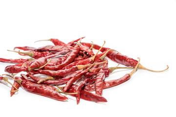 dried chilli on  white background