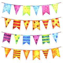 Hand painted watercolor festive garlands of colorful flags set isolated on white background. Holiday, birthday, party, carnival and wedding decor elements