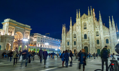 Night view of Piazza del Duomo in Milan
