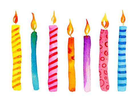 Set of stylized birthday candles. Hand drawn cartoon watercolor sketch illustration