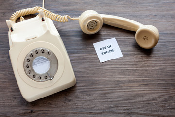 Retro telephone with note - Get In Touch