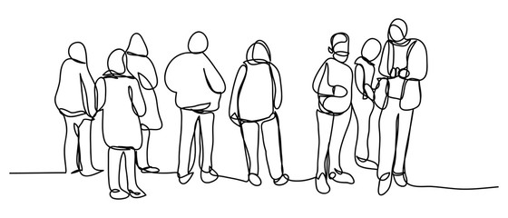 Continuous line art or One Line Drawing of people walking, photographing, talking, traveling