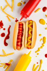 Hot dogs, potatoes and ketchup