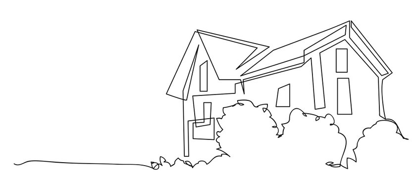 continuous line drawing of house,  residential building concept, logo, symbol, construction,