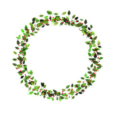 Holly leaves and red berries illustration round frame, isolated on white background. Seasonal, festive.