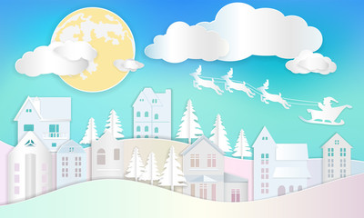 Christmas background, santa clause with reindeer flying on blue sky over home and tree with full moon and cloud.
