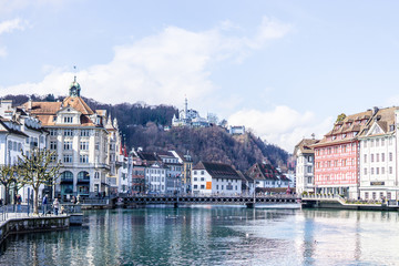 Beautiful aerial view Lake Lucerne, city the spring season, boats and ships, travel and vacation to Europe concept, boat club, Luzern, Switzerland